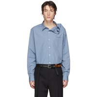 Y Project Blue Asymmetric Collar Shirt