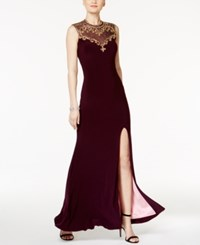 Betsy And Adam Embellished Open Back Gown Plum Gold