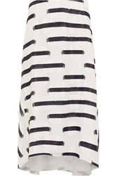 Chloe Striped Satin Fil Coupe Midi Skirt