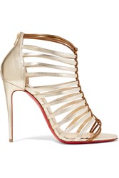Christian Louboutin Milla 100 Metallic Leather Sandals Gold