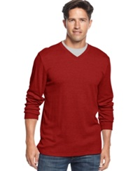 John Ashford Shirt Ribbed V Neck Shirt Deep Ruby