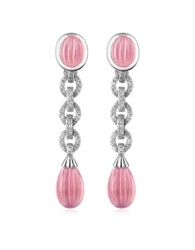 Roma Imperiale Carved Gemstone 18K Gold And Diamond Drop Earrings Pink