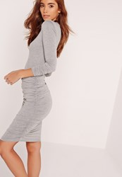 Missguided Long Sleeve Ruched Bodycon Dress Grey Grey