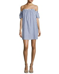Milly Off The Shoulder Striped Poplin Shirtdress Multi