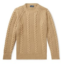 Peter Millar Chalet Cable Knit Camel Hair Blend Sweater Brown