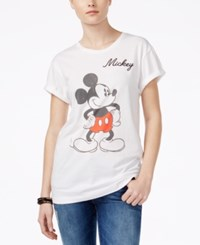 Hybrid Juniors' Mickey Mouse Graphic T Shirt White