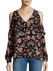 Parker Floral Printed Cold Shoulder Top Black