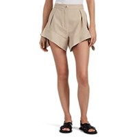 J.W.Anderson Curved Hem Cotton Pleated Shorts Beige