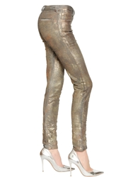 Faith Connexion Glittered Stretch Cotton Denim Jeans Silver