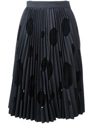 Msgm Polka Dot Pleated Skirt Grey
