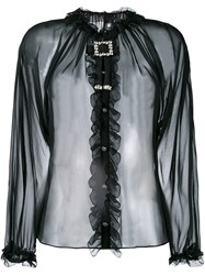 Dolce And Gabbana Sheer Ruffled Blouse Black