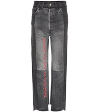 Vetements Embroidered Cotton Jeans Grey