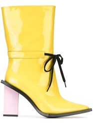 Marques Almeida Marques'almeida 'Patend Drawstring' Boots Yellow And Orange