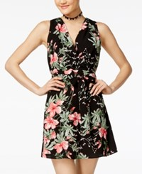 Teeze Me Juniors' Floral Print Fit And Flare Dress Black Multi