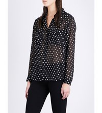 The Kooples Polka Dot Print Chiffon Shirt Bla28