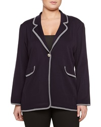 Misook Contrast Trim Knit Blazer Denim