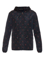 Gucci Detachable Hood Bee Print Nylon Jacket Navy Multi