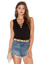 Lanston Lace Up Tank Black