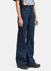 Marc Jacobs Striped Flared Leg Star Jeans Blue