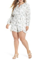 Glamorous Plus Size Floral Ruffle Romper White Blue Small Flower