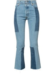 Re Done Patchwork Cropped Jeans Blue