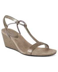 Style And Co. Mulan Wedge Sandals Women's Shoes Pewter Snake