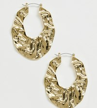 Designb London Gold Crinkle Oval Hoop Earrings