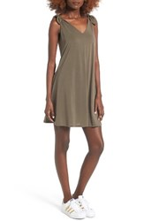 Soprano Women's Shoulder Tie Dress Olive