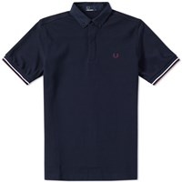 Fred Perry Woven Collar Polo Blue