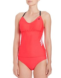 Adidas Beach Striped Tankini Top Shock Red