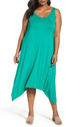 Sejour Plus Size Women's Jersey Sharkbite Hem Tank Dress Green Kelly