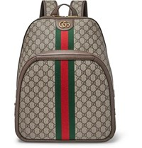 Gucci Leather And Webbing Trimmed Monogrammed Coated Canvas Backpack Beige