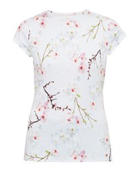 Ted Baker Millis Oriental Bloom Fitted T Shirt Light Grey