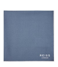 Reiss Moon Mens Silk Pocket Square In Blue One Size