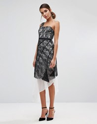 Three Floor One Shoulder Lace Dress With Pleated Skirt Underlay Multi