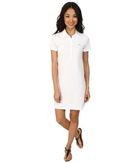 Lacoste Short Sleeve Classic Pique Polo Dress White Women's Dress