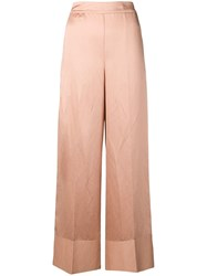 Semicouture High Waisted Wide Leg Trousers Neutrals