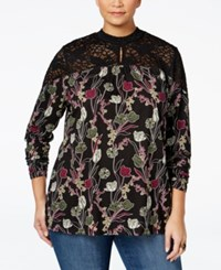 Styleandco. Style Co. Plus Size Printed Lace Trim Tunic Only At Macy's Eccentric Gardens
