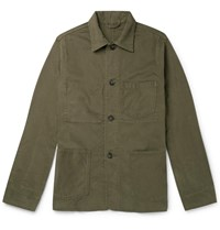 Officine Generale Garment Dyed Cotton Blend Twill Chore Jacket Green