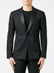 Topman Black Skinny Fit Tuxedo Jacket With Contrast Satin Lapel