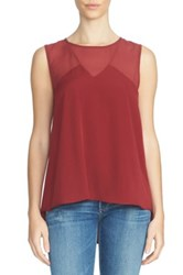 1.State Chiffon Inset Sleeveless Blouse Red