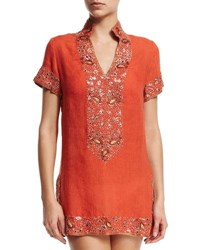 Flora Bella Viceroy Beaded Linen Short Coverup Tunic Sunrise