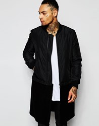Asos Super Longline Bomber Jacket With Detachable Wool Hem Black