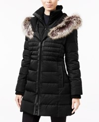 Bcbgeneration Faux Fur Trim Mixed Media Down Puffer Coat Black