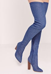 Missguided Over The Knee Denim Boot Blue