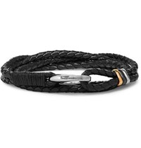 Paul Smith Woven Leather And Silver And Gold Tone Wrap Bracelet Black