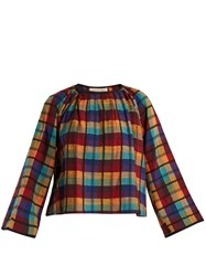 Ace And Jig Farrah Gathered Neck Checked Cotton Blouse Multi