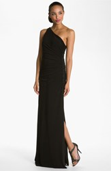 Petite Women's Laundry By Shelli Segal Beaded Panel One Shoulder Jersey Gown Black