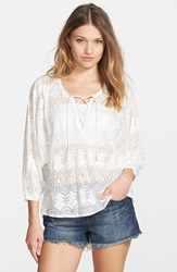 Volcom Long Sleeve Burnout Peasant Top White