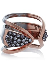 Katie Rowland Zelle Dip Dyed Rose Gold Plated Quartz Ring Metallic